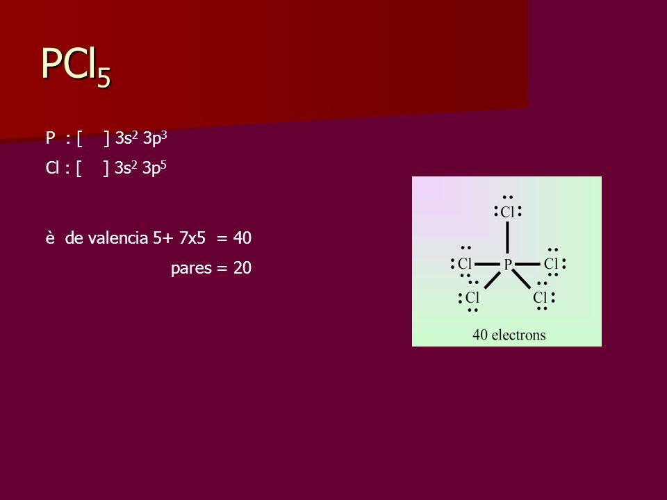 PCl5 P : [ ] 3s2 3p3 Cl : [ ] 3s2 3p5 è de valencia 5+ 7x5 = 40